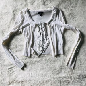 NEW Crop White Cardigan with Polka Dot Tie